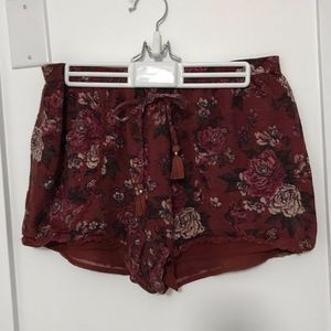 Dusty Red Floral Patterned Shorts